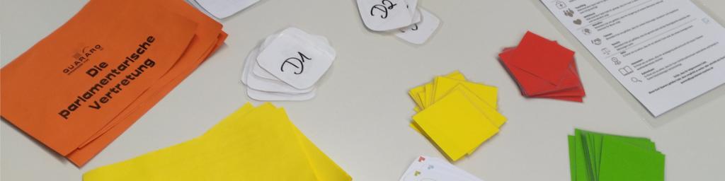 Moderationskarten und Spielmaterial - das erste Material zum Spiel