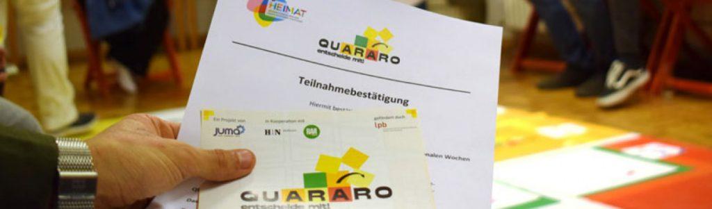 Trainer oder Trainerin für QUARARO werden und die nächsten Spielerunden mit QUARARO als Spielleiter*in anleiten.